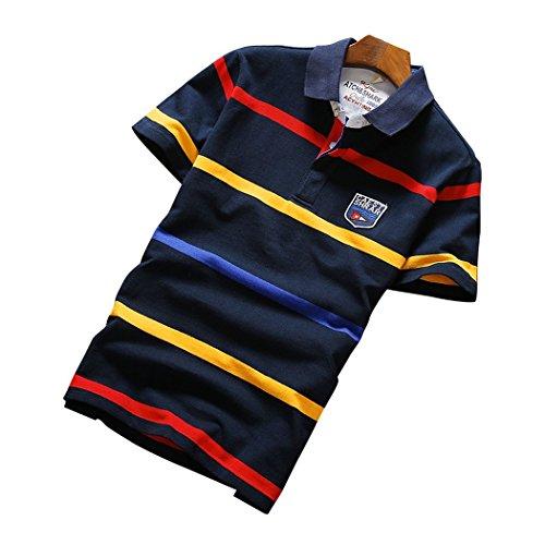 LANSI(レンシー)夏 ポロシャツ 半袖 ゴルフウェア ボーダー 鹿の子 ストレッチ シャツ スポーツ 通気性 薄手 ボタンダウン メンズ