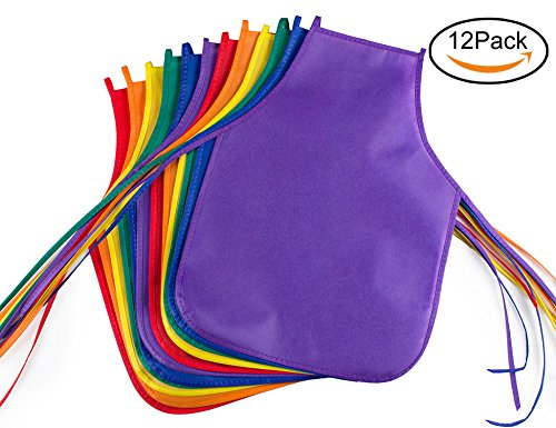 Kids Apron - Children's Artists Fabric Aprons - Classroom,Kitchen, Community Event, Crafts & Art Painting Activity. Safe Clean 12 Pack Assorted Colors
