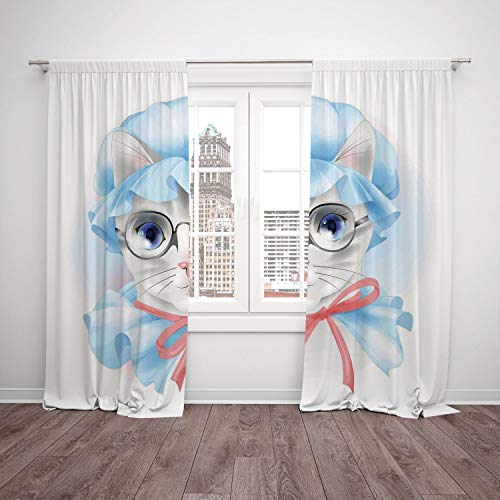 Satin Window Drapes Kitchen Curtains,Cat,Granny Grandma Old Kitty with Her Old Fashioned Pyjamas and Reading Glasses Artsy,Blue Pink Grey,Living Room Bedroom Kitchen Cafe Window Drapes 2 Panel Set -