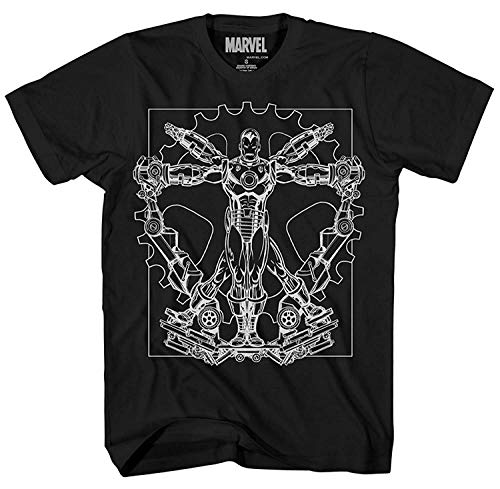 Spider-Man Iron Man Vitruvian Avengers Leonardo da Vinci Spiderman Ironman Superhero Tee Adult Mens Graphic T-shirt (X-Large, Iron Man on - Tee T-shirt Ironman