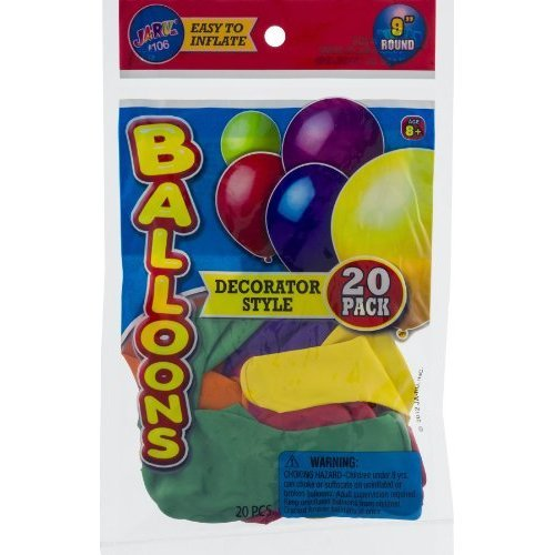 Ja Ru 5.75 x 9 inch Round Decorator Style Balloons, 25 count per pack -- 6 per case.