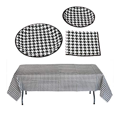 Havercamp Houndstooth Party Bundle | Dinner & Dessert Plates, Luncheon Napkins, Table Cover | Great for Engagement Party, Mother's Day, Alabama Tailgate, Classic Birthday Party, Roll Tide Fans -
