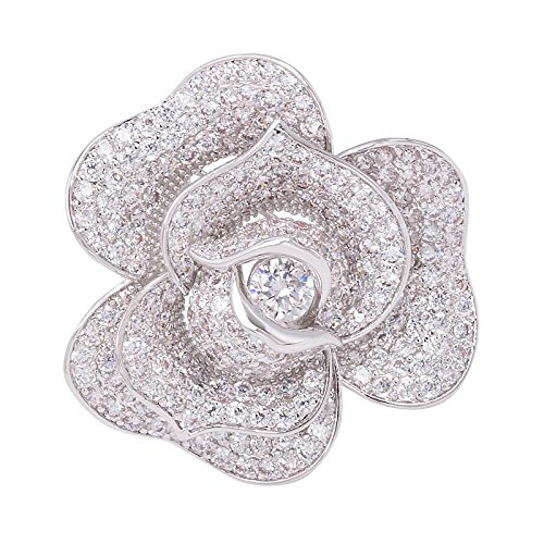 OBONNIE Women Sparking Micro Pave Layered Petal Clear CZ Rose Flower Brooch Pin Wedding Bridal Jewelry by OBONNIE