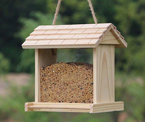 Gardirect Wooden Bird Seed Feeder, Log Cabin Bird ()