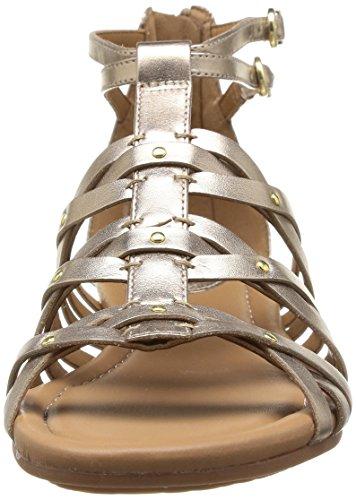 Clarks Viveca Rome - Sandalias de vestir de cuero para mujer, Gold Leather, UK3