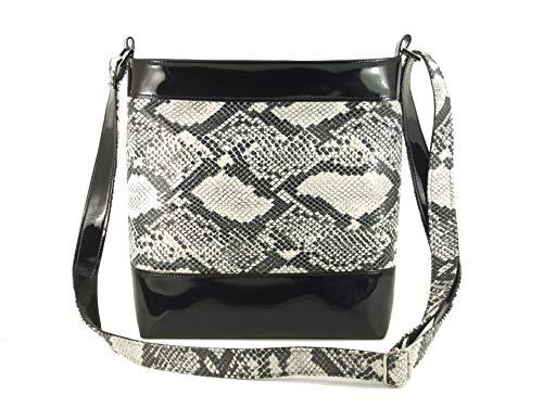 LONI Womens Cross-body Shoulder Bag Faux Snakeskin (Python Bag Messenger Black)