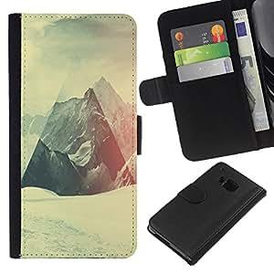 KLONGSHOP // Tirón de la caja Cartera de cuero con ranuras para tarjetas - Geometría de la montaña Nevado - HTC One M9 //