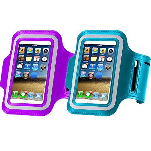 2pack Water Resistant Cell Phone Armband Case for iPhone X Xs Max, XR, 8 Plus, 7 Plus, 6 Plus, 6S Plus,Samsung Galaxy S9, S8 Plus, A8 Plus, Note 4/5/8 with Adjustable Band Key Holder Purple+ Sky Blue ()