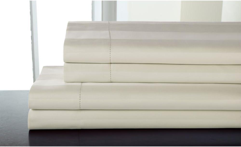 Elite Home Products T325 100% Pima Cotton Tuxedo Woven Stripe S/Set,Queen,Ivory