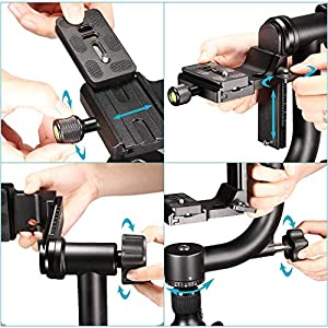 Koolehaoda Professional Heavy Duty Metal 360° Panoramic Gimbal Tripod Head with Arca-Swiss Standard 1/4'' Quick Release Plate for Digital SLR Cameras up to 30lbs/13.6 kg. (Tamaño: YL-46)