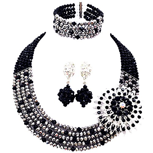 aczuv 5 Rows Women's Fashion African Beads Nigerian Necklace Bridal Wedding Jewelry Sets (Black Silver) -