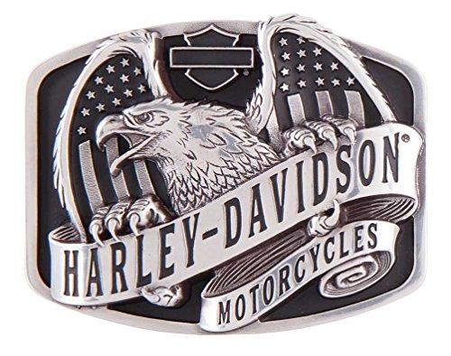 Harley-Davidson Men's Wings Over America Belt Buckle, Antique Silver HDMBU11402 (Harley Belt Buckles)
