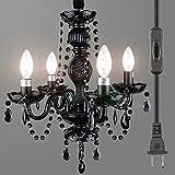 Starthi Plug in 4 Light Black Chandelier, Antique Crystal Pendant Chandelier Ceiling Light H 17'' W 16''
