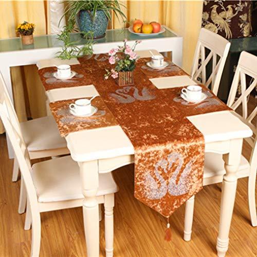 US-ROGEWIN Table Runner Tassels Soft Silky Velvet Bed Flag Swan Pattern for Home Hotel Room Pillowcase Decor