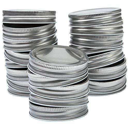 Resinta 20 Pack Regular Mouth Mason Jar Lids Silicone Seals Leak Proof Secure Mason Storage Solid Caps (Silver, Regular Mouth)