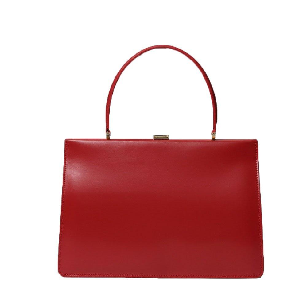 Vintage Box Leather Handbag Versatile Clip Bag Large,Red