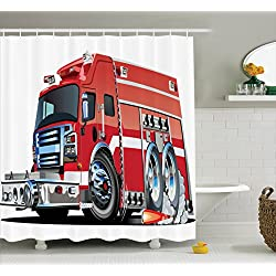 Ambesonne Cars Decor Shower Curtain Set, Big Fire Truck with Emergency Equipments Universal Safety Rescue Team Engine Cartoon Print, Bathroom Accessories, 69W X 70L inches, Red Silver
