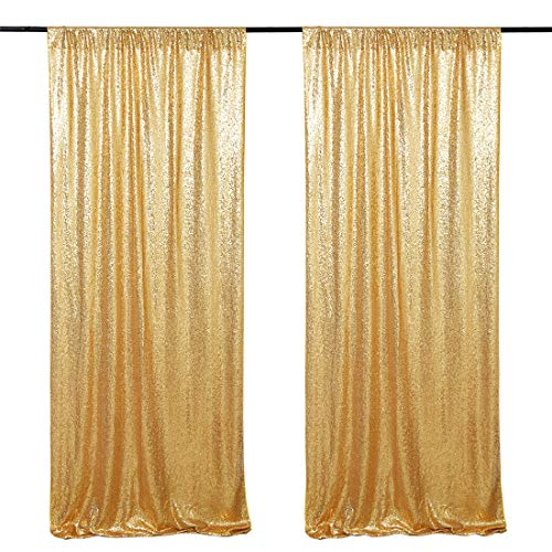 Sequin Backdrop Curtain Panel 2FTx8FT Gold Sequin Photography Backdrop for Prom Party Wall Background Decoration Two Pieces (Panels 2 Gold Curtains)