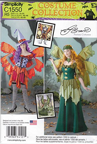 [Simplicity Sewing Pattern C1550 1550 Misses Sizes 14-22 Fairy Fantasy Elf Costumes] (Miss Elf Costumes)