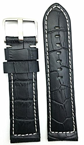 26mm Long, Panerai Style, Medium Padded, Black Alli Croco Grained Leather, White Stitches Watch Band