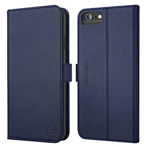 iPhone 6S Plus Case iPhone 6 Plus case ZOVER Genuine Leather Case Wallet Cover with Kickstand Feature Card Slots & ID Holder and Magnetic Clasps for iPhone 6 Plus iPhone 6S Plus Navy Blue