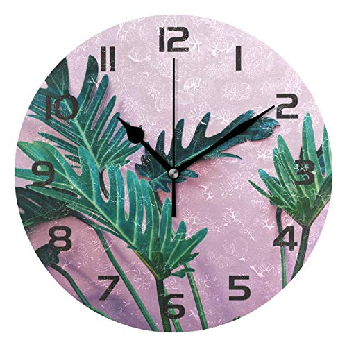 Dozili Palm Leaves Tropical Leaf Decorative Wooden Round Wall Clock Arabic Numerals Design Non Ticking Wall Clock Large for Bedrooms, Living Room, ()