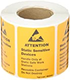 Tape Logic DL9141 Anti Static Label, Legend''Static Sensitive Devices'' with Graphic, 2-1/2'' Length x 1-3/4'' Width, Black on Orange (Roll of 500)