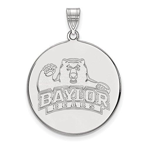 14k White Gold LogoArt Official Licensed Collegiate Baylor University (BU) XL Disc Pendant by Logo Art