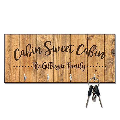 Personalized Rustic Wood Plank Cabin Sweet Cabin Key Hanger