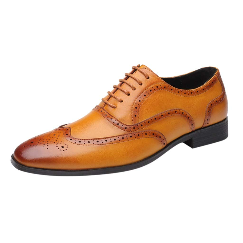 Men Leather Shoes Casual Fashion British Outdoor Lace up Business Dress Shoes (US:10, Yellow)