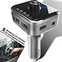 Heiyo FM Transmitter-Car Safety Hammer Wireless Bluetooth Music Player With Car Charger Radio Adapter Supporting Hands Free Calling | Voice Navigation | Voltage Display | SD Card Input | USB Stick
