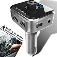 Heiyo FM Transmitter-Car Safety Hammer Wireless Bluetooth Music Player with Car Charger Radio Adapter Supporting Hands Free Calling│Voice Navigation│TF Card│USB Stick Play