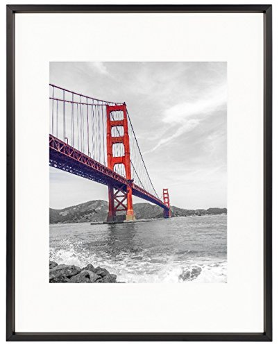 Frametory, Metal Picture Frame Collection, 11x14 Aluminum Black Photo Frame with Ivory Color Mat for 8x10 Picture & Real Glass (Black)