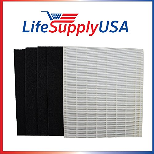 LifeSupplyUSA Replacement HEPA Filter Set for Winix Size 25 113250 113200 P450