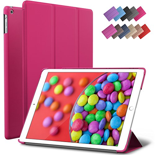 iPad Air Case, ROARTZ Magenta Slim Fit Smart Rubber Coated Folio Case Hard Shell Cover Light-Weight Auto Wake/Sleep For Apple iPad Air 1st generation Model A1474/A1475/A1476 Retina Display