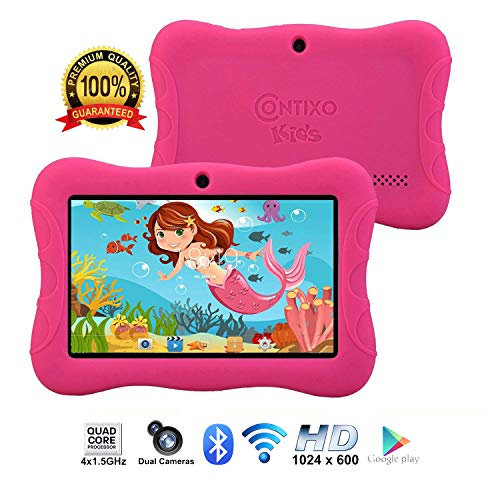 Contixo Kids Tablet K3 | 7 Display Android 6.0 Bluetooth WiFi Camera Parental Control for Children Infant Toddlers Includes Tablet Case (Pink)