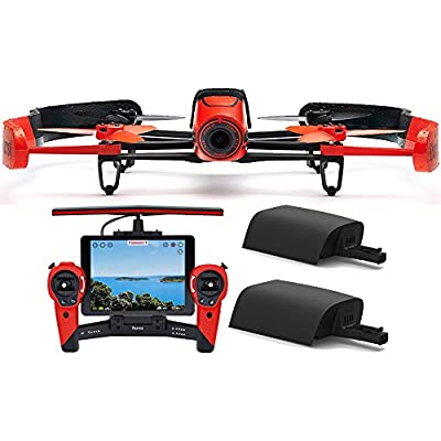 Parrot BeBop Drone 14 MP 1080p Fisheye Camera with Skycontroller + Battery Bundle (Red) from Parrot