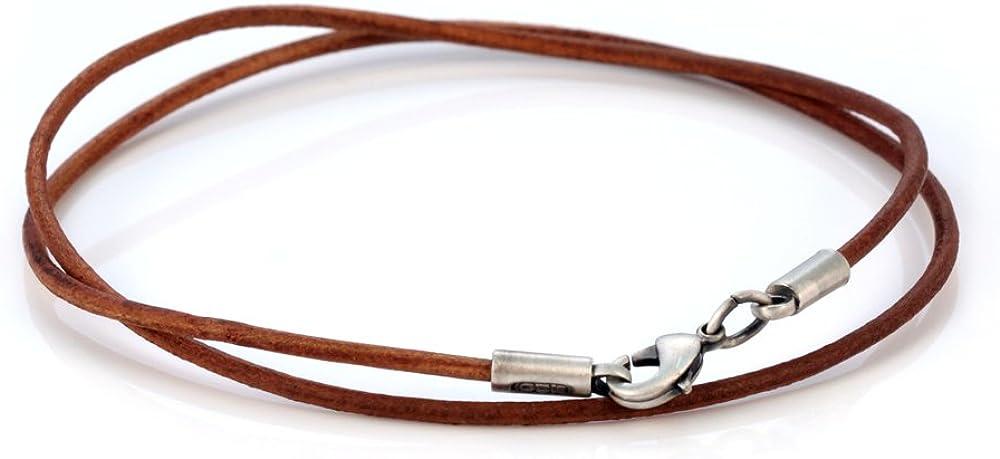 CL8 Marron Bico Collier Cuir Marron 2mm Tribal Rue Bijoux