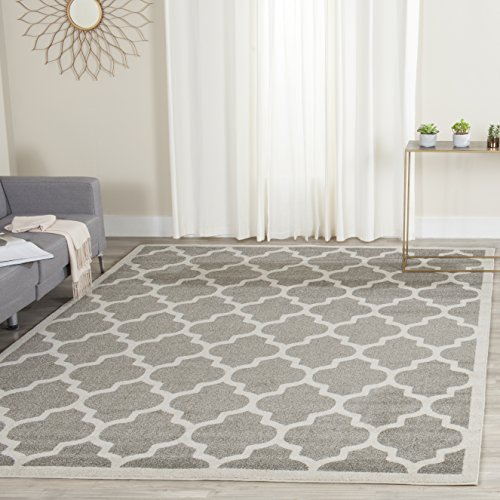 - Safavieh Amherst Collection AMT420R Dark Grey and Beige Indoor/ Outdoor Square Area Rug (5' Square)