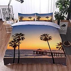 HOOMORE Bed Comforter - 3-Piece Duvet -All Season, Manhattan Beach Pier at Sunset Los Angeles California,HypoallergenicDuvet-MachineWashable -Twin-Full-Queen-King-Home-Hotel -School