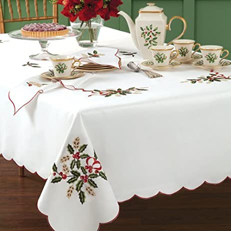 lenox holiday cutwork christmas tablecloth white oblong 60 x 102