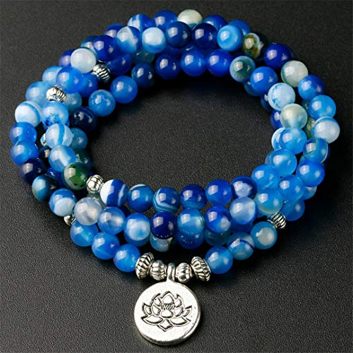 Rgfitv Handmade Jewelry Blue Line Onyx 108 Mala Necklace Bracelet Meditation Gem-Stone Lotus Beads Bracelet Women Men OM Charm