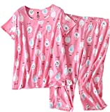 Amoy madrola Women's Pajama Sets Capri Pants with Short Tops Cotton Sleepwear Ladies Sleep Sets SY215-Pink Sheep-XL