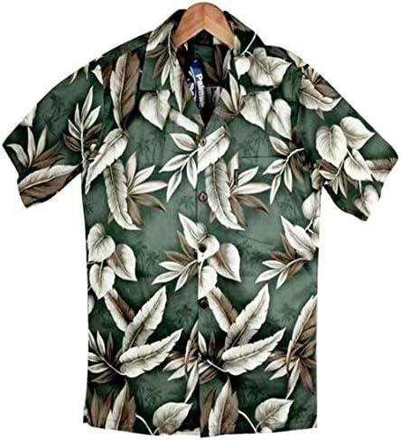 アロハシャツ メンズ ダークグリーン/葉柄アロハシャツ 大きいサイズ有 コットン Palmwave
