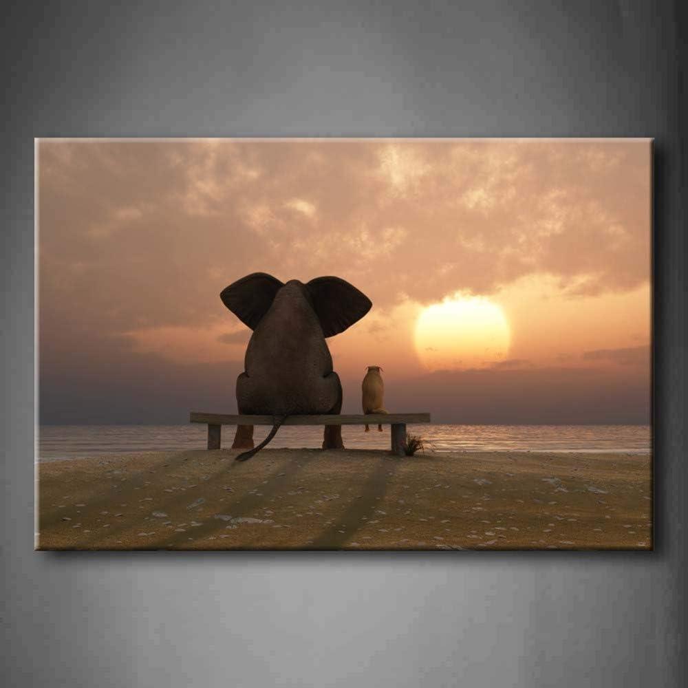 NIMCG Arte de la Pared Imagen Elefante Perro Verano Playa Impresión en Lienzo Animal Moderno Carteles con para Sala de Estar (Sin Marco) R1 30x45CM: Amazon.es: Hogar