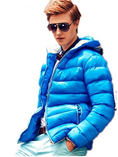 Men's Outerwear Jackets & Coats Boy's Cotton Padded Zip Quilted Light Hooded (Hooded Silk Coat)