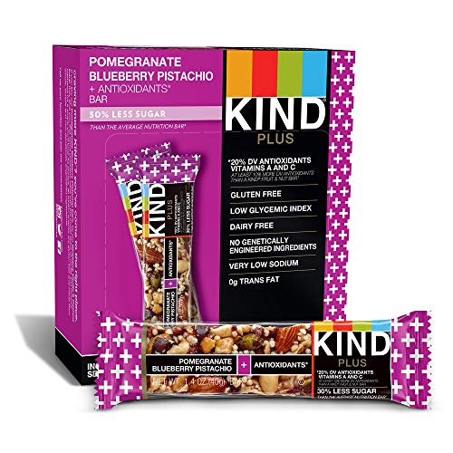 (KIND Bars, Pomegranate Blueberry Pistashio + Antioxidants, Gluten Free, Low Sugar, 1.4oz, 12 Count)