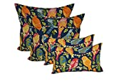 Set of 4 Indoor / Outdoor Pillow Covers - 2 Square & 2 Rectangle / Lumbar - Navy Blue Ash Hill Garden Birds Red Orange Pink Yellow Green - Choose Size (17'' x 17'' square & 11'' x 19'' lumbar)