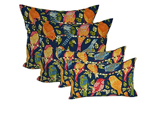 Set of 4 Indoor / Outdoor Pillow Covers - 2 Square & 2 Rectangle / Lumbar - Navy Blue Ash Hill Garden Birds Red Orange Pink Yellow Green - Choose Size (17'' x 17'' square & 11'' x 19'' lumbar) by Resort Spa Home