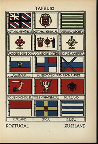 Portugal Russia Courland Muscovy Flag 1912 antique color lithograph print (1912 Print)